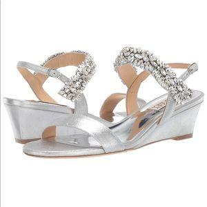 Badgley Mischka Larisa Wedge Bridal Sandal Silver